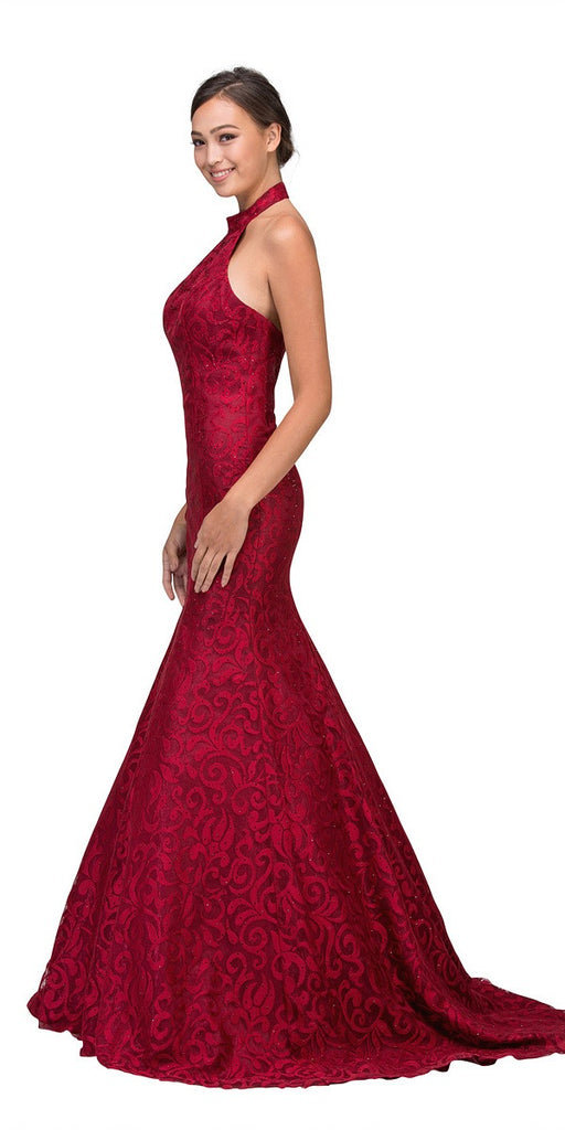 Burgundy Mermaid Floor Length Prom Dress Halter