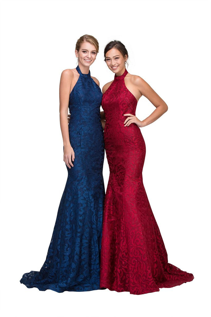 Navy Blue Mermaid Floor Length Prom Dress Halter
