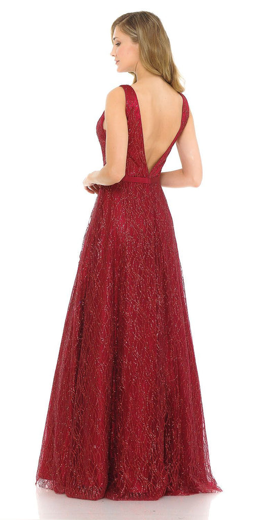 Burgundy Glittery Long Prom Dress with Open V-Back