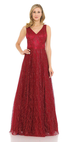 Long Lace Sheath Dress Burgundy Chiffon Overlay V Neck