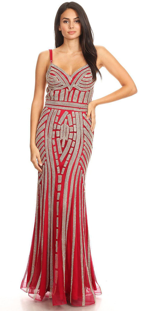 Burgundy/Gold Embellished Long Prom Dress V-Neck