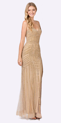 Gold Embellished Long Prom Dress V-Neck