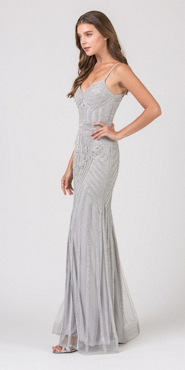 7b11cd78b50 Eureka Fashion 8005 Silver Silver Embellished Long Prom Dress V-Neck ...