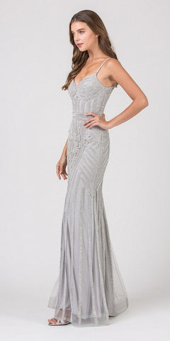 Fitted Sequin Gown Navy Blue Illusion Cut Outs And Open Back