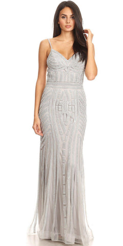 Silver/Silver Embellished Long Prom Dress V-Neck