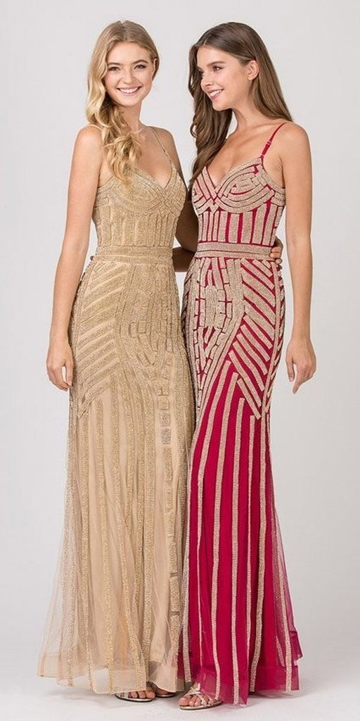 Eureka 8005 Gold Embellished Long Prom Dress V-Neck