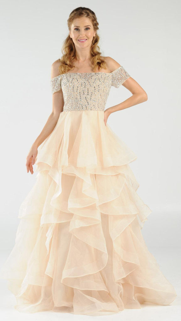 Light-Champagne Beaded Off-the-Shoulder Tiered Prom Gown