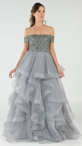 Gray Beaded Off-the-Shoulder Tiered Prom Gown