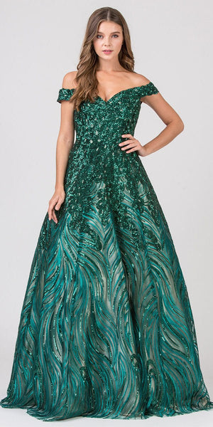 Off-Shoulder Sequins and Appliqued Prom Ball Gown Hunter Green