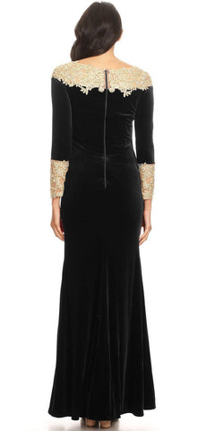 Long Sleeves Velour Evening Gown with Lace Appliques Black/Gold
