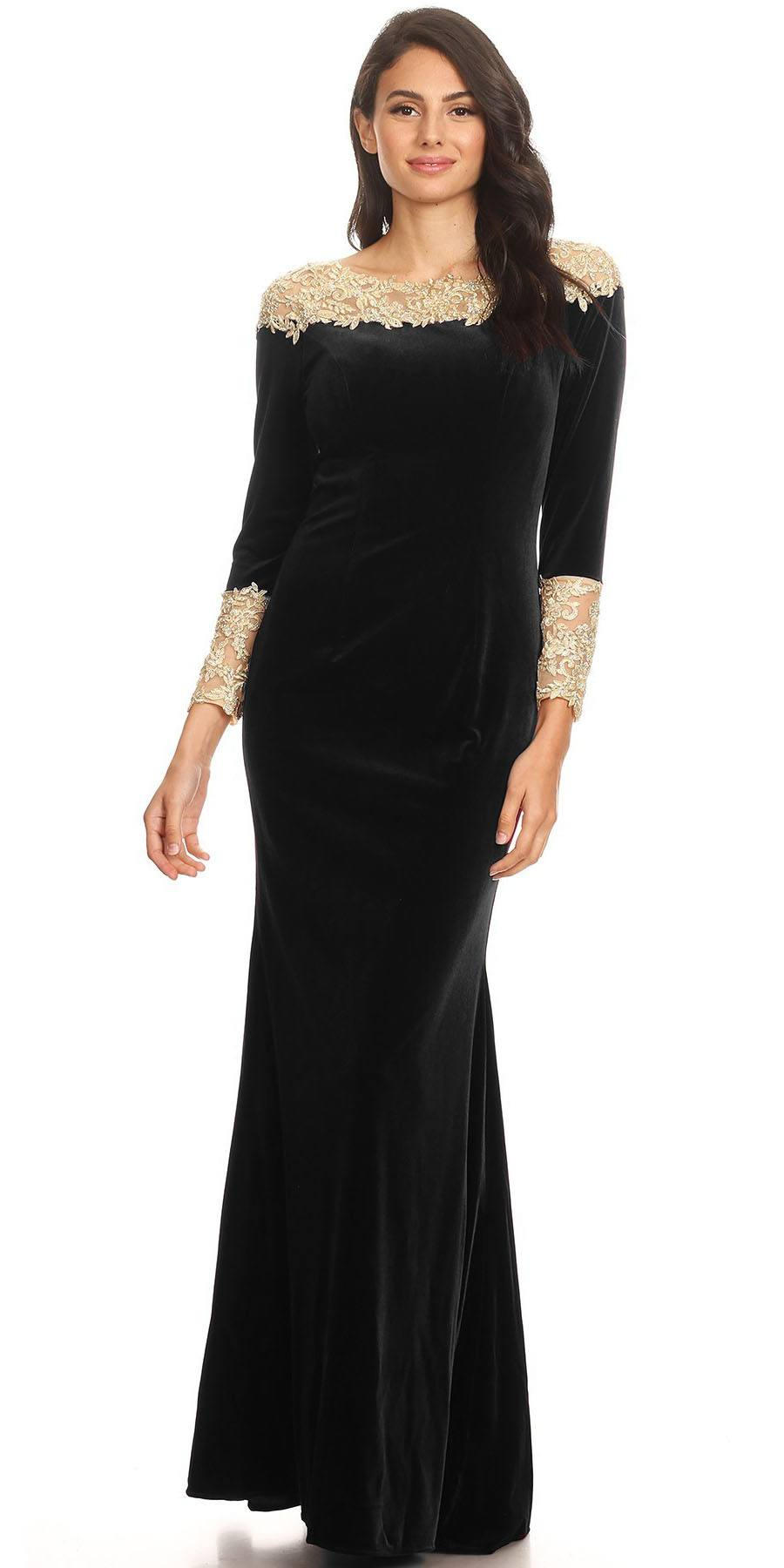 Eureka Fashion 8008 Long Sleeves Velour Evening Gown With Lace