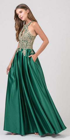 Halter Keyhole Neckline Long Prom Dress with Pockets Hunter Green