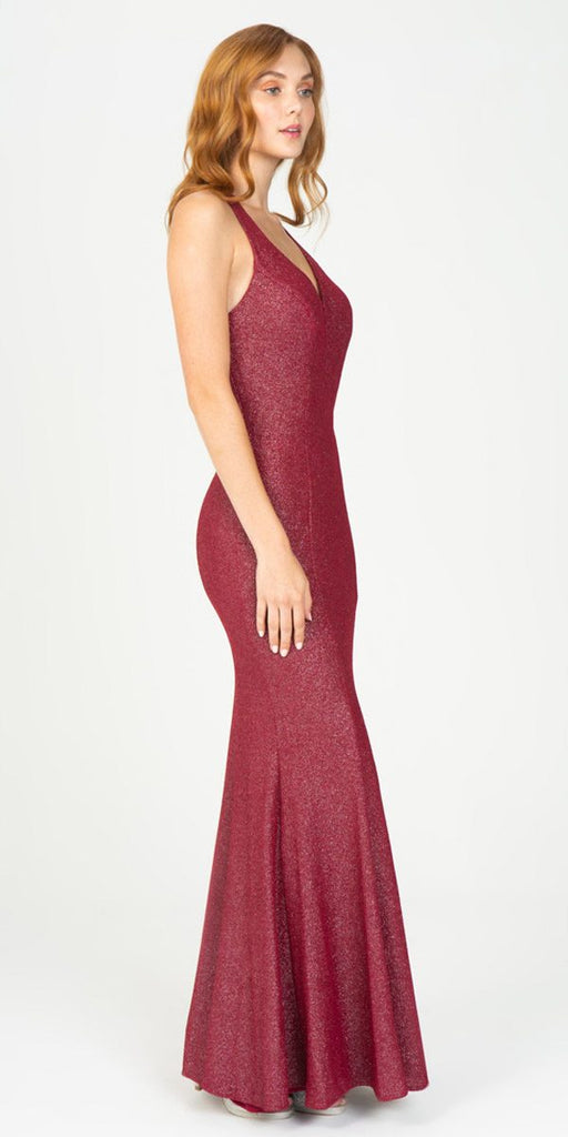 Eureka Fashion 8010 Burgundy V-Neck Mermaid Long Prom Dress Strappy Back