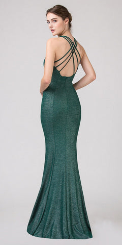 Hunter Green V-Neck Mermaid Long Prom Dress Strappy Back