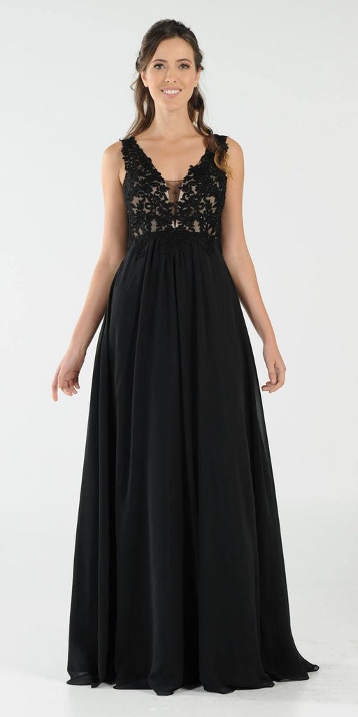 Black V-Neck Long Formal Dress Empire Waist Appliqued Bodice