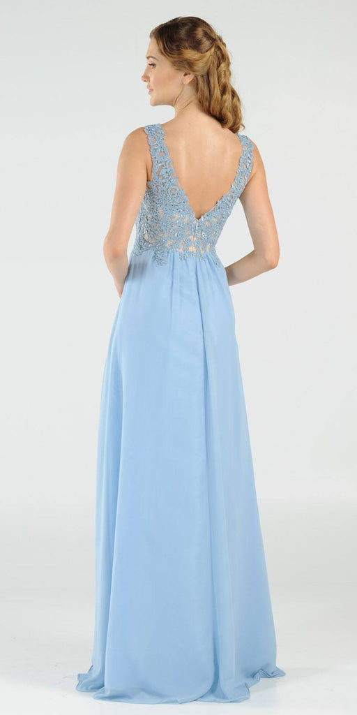 Ice Blue V-Neck Long Formal Dress Empire Waist Appliqued Bodice