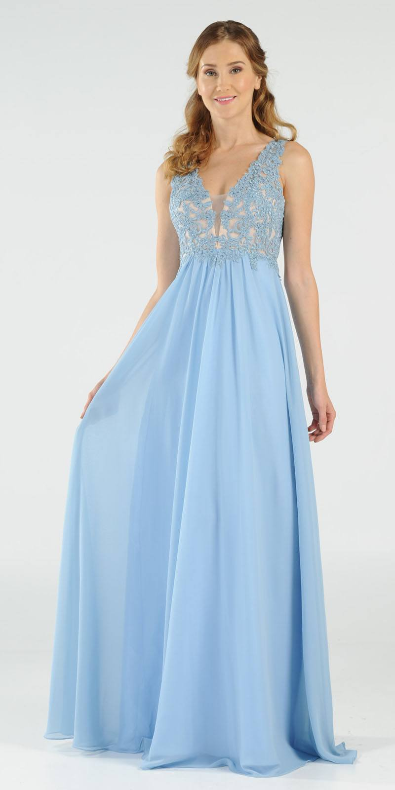 5ab81c84dd7 Ice Blue V-Neck Long Formal Dress Empire Waist Appliqued Bodice. Tap to  expand