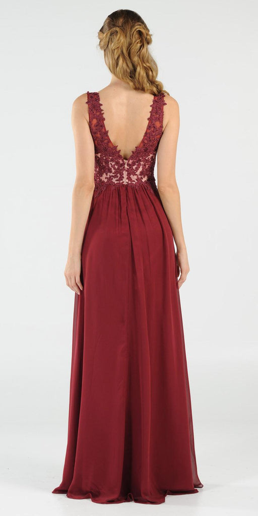 Burgundy V-Neck Long Formal Dress Empire Waist Appliqued Bodice
