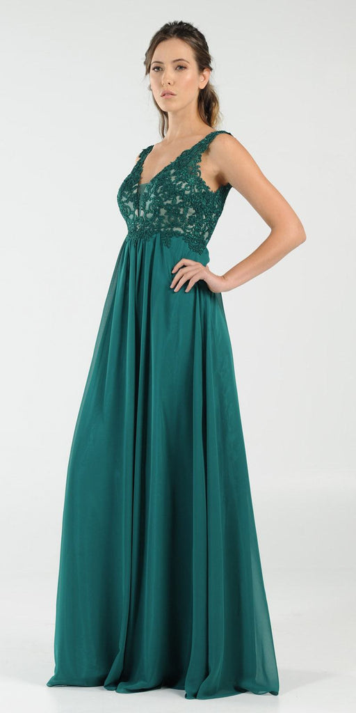 Emerald Green V-Neck Long Formal Dress Empire Waist Appliqued Bodice