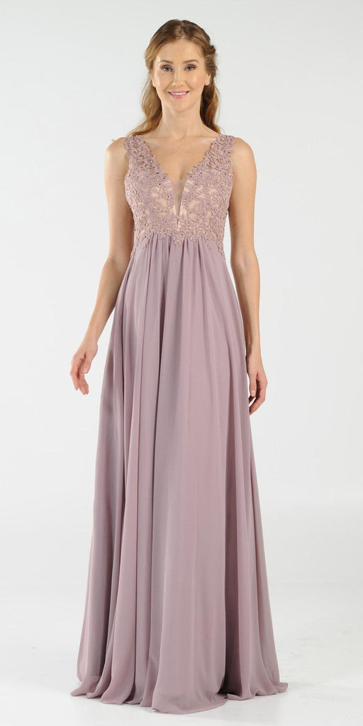 Mauve V-Neck Long Formal Dress Empire Waist Appliqued Bodice