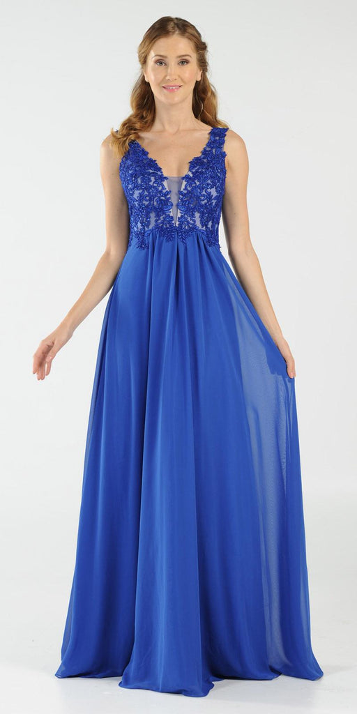 Royal Blue V-Neck Long Formal Dress Empire Waist Appliqued Bodice
