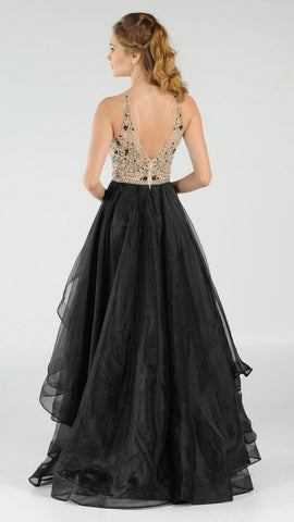 Black/Nude Halter Beaded Bodice Tiered Long Prom Dress