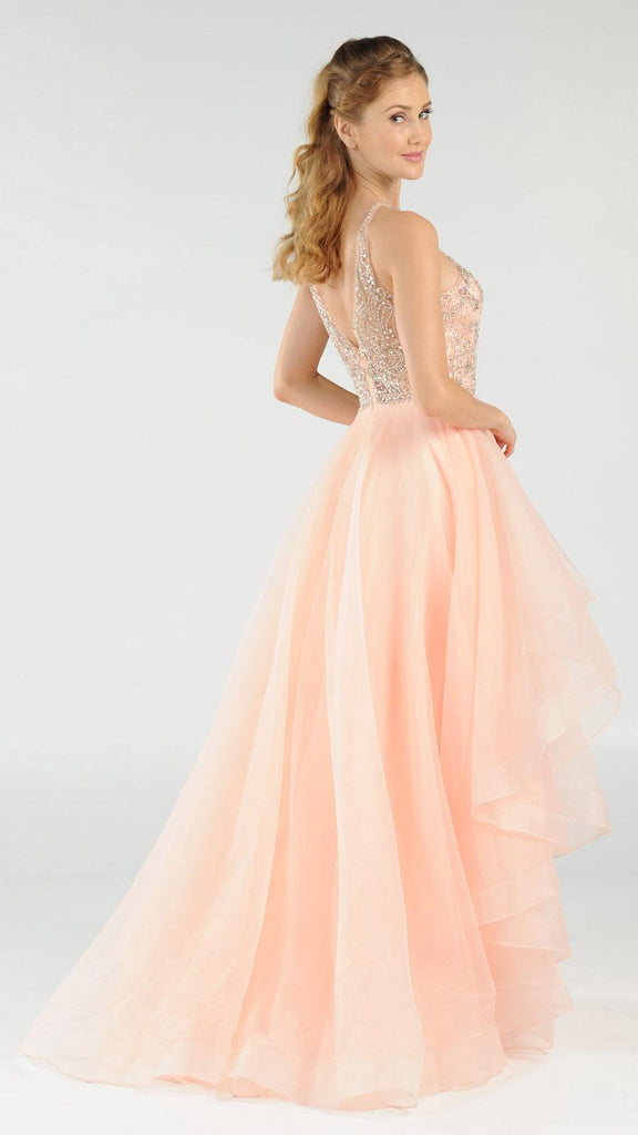 Light Coral Halter Beaded Bodice Tiered Long Prom Dress