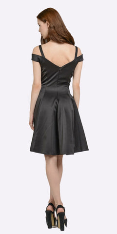 Black Knee Length A-line Cocktail Dress with Cold Shoulder