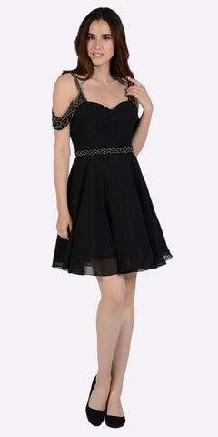 Sweetheart Neck Cold Shoulder Short Homecoming Dress Black