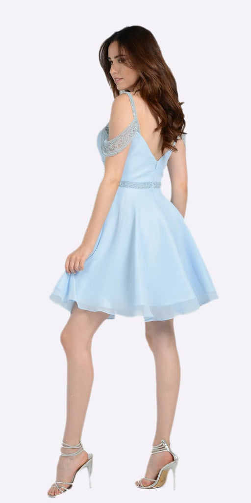 Sweetheart Neck Cold Shoulder Short Homecoming Dress Blue