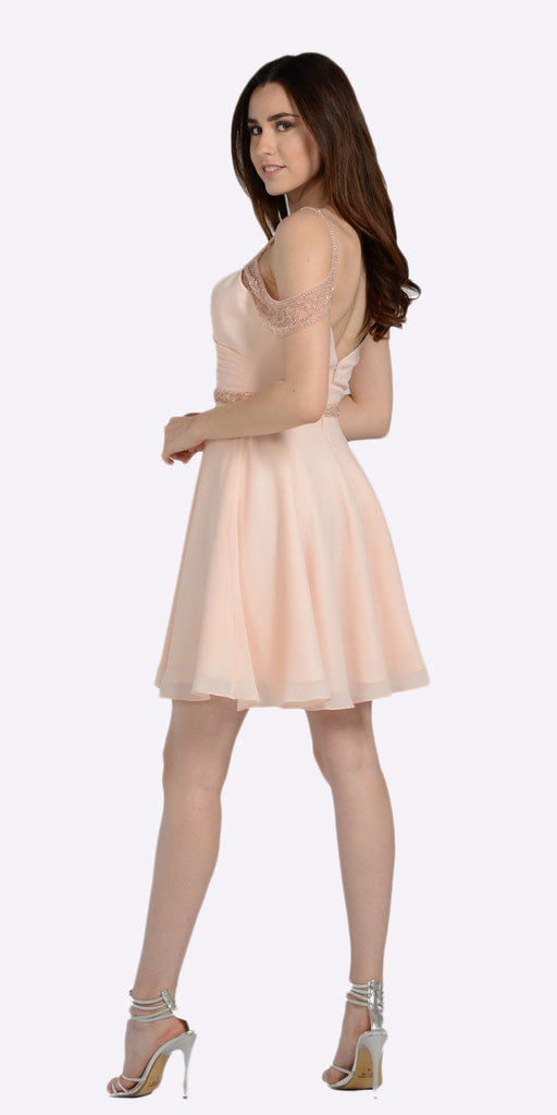 Sweetheart Neck Cold Shoulder Short Homecoming Dress Blush