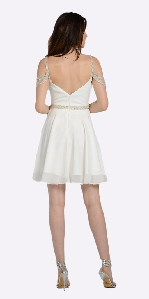 Sweetheart Neck Cold Shoulder Short Homecoming Dress Off White