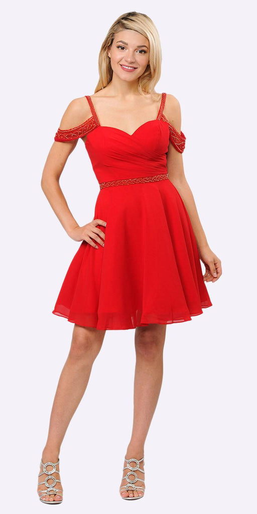Sweetheart Neck Cold Shoulder Short Homecoming Dress Red