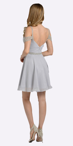 Sweetheart Neck Cold Shoulder Short Homecoming Dress Silver