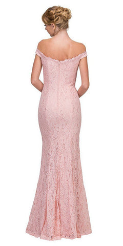 Lace Off-the-Shoulder Long Formal Dress Dusty Pink