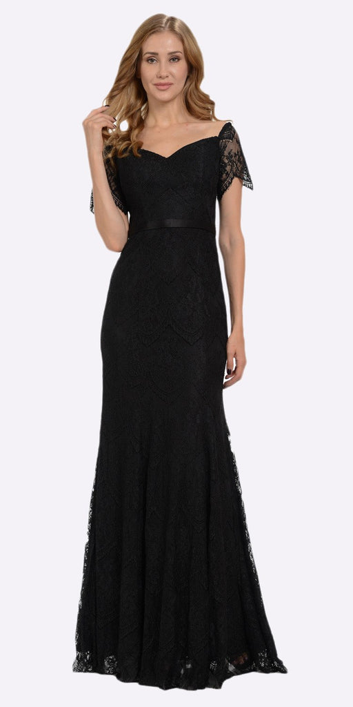 Poly USA 8030 Off Shoulder Lace Fit and Flare Evening Gown Black