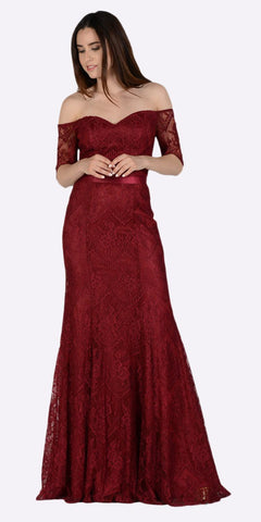 Poly USA 8030 Off Shoulder Lace Fit and Flare Evening Gown Burgundy