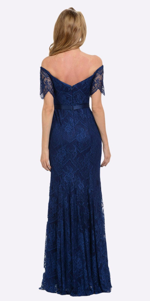 Poly USA 8030 Off Shoulder Lace Fit and Flare Evening Gown Navy Blue