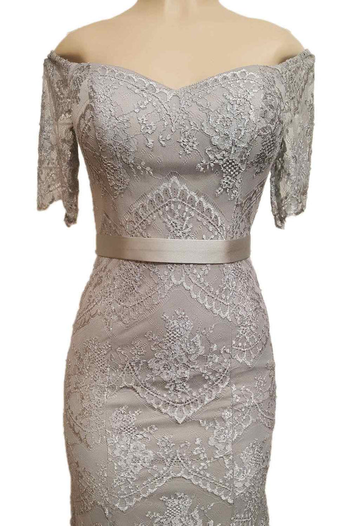 Poly USA 8030 Off Shoulder Lace Fit and Flare Evening Gown Silver