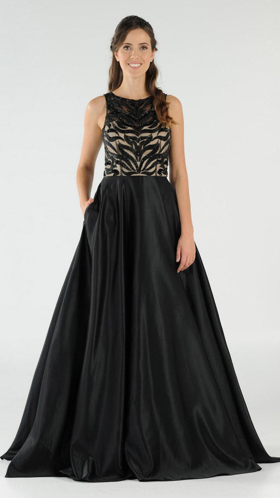 Black Sequins Bodice Satin Prom Gown with Pockets