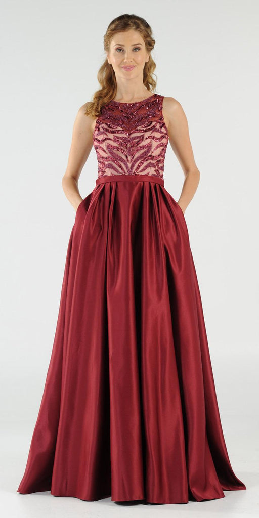 Burgundy Sequins Bodice Satin Prom Gown with Pockets