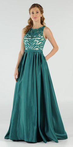 Emerald Green Sequins Bodice Satin Prom Gown with Pockets