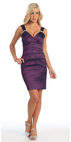 CLEARANCE - Tight Fit Plum Cocktail Dress Pleated Wide Straps Short Above Knee