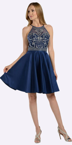 Navy Blue Halter Beaded Bodice Short Homecoming Dress Cut Out Back