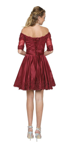 Burgundy Homecoming Short Dress Off-Shoulder with Appliques