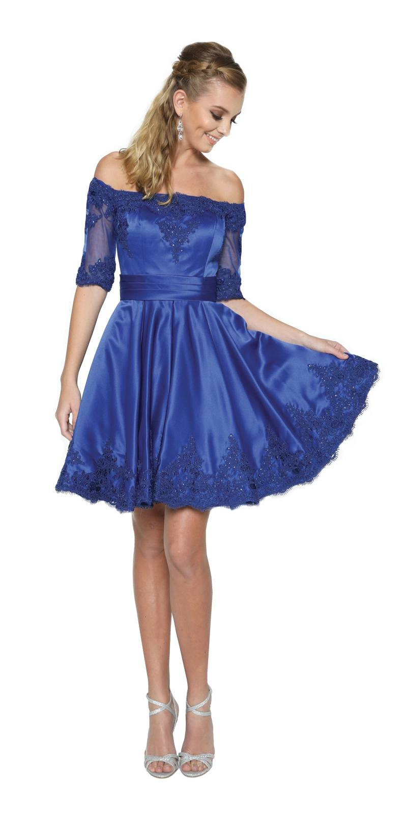 Royal Blue Homecoming Short Dress Off-Shoulder with Appliques. Tap to expand ed713cfcd