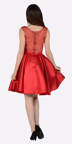 Illusion Beaded Top Pleated Skirt Short Prom Dress with Pockets Red