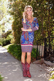 Country Cowgirl Dress Short in Royal Burgundy V Neck 3/4 Sleeve