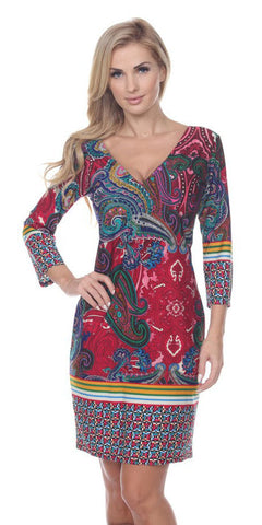 Country Cowgirl Dress Short in Fuchsia Green V Neck 3/4 Sleeve