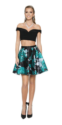 Two-Piece Short Party Dress Print Skirt Off-Shoulder Green